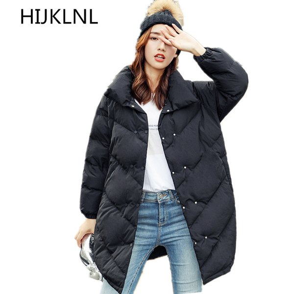 Piumino invernale delle nuove donne 2018 Outer Fashion Long Thick Warm Loose 1005 White Duck Down Coat TQ405