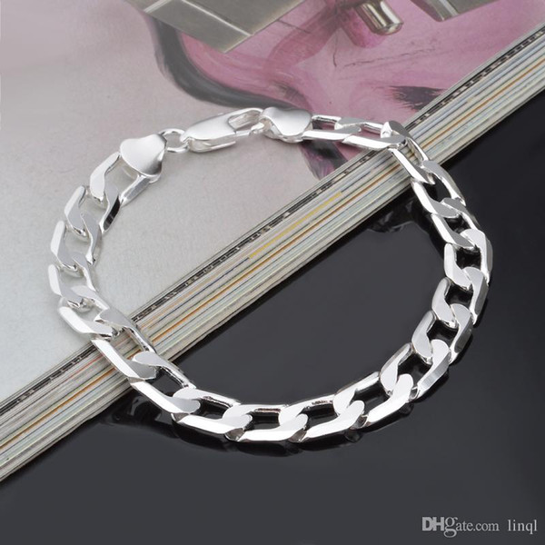 New Hot 925 sterling silver chain bracelet 8MM X21CM cool street style fashion jewelry Christmas gifts low price free shipping