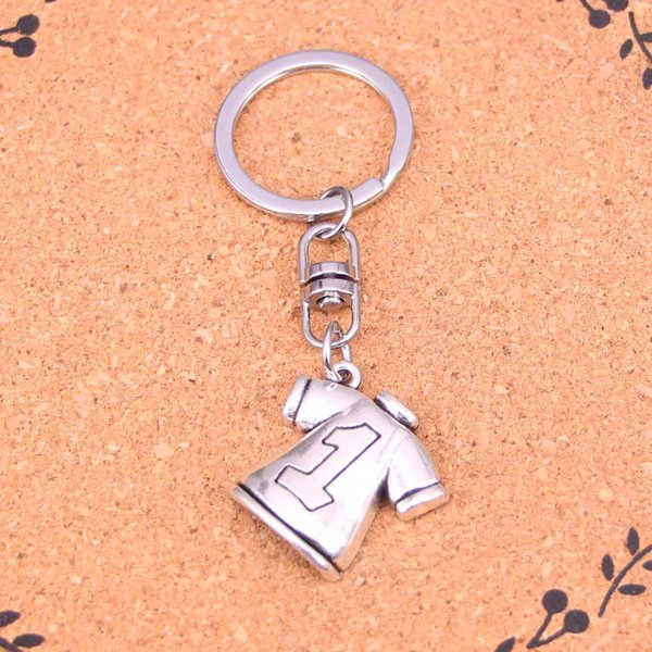 New Fashion Keychain 25*26mm No.1 Football clothes Pendants DIY Men Jewelry Car Key Chain Ring Holder Souvenir For Gift