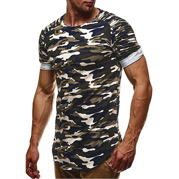 BORRUIC 2018 Men Camouflage Slim Fit T Shirt Pleated Short Sleeve T Shirt Mens Camo Longline Curved Hem Hip HHop Casual Shirts