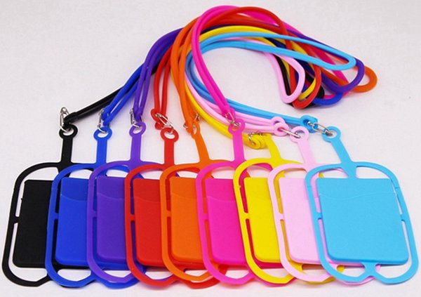 Hot Sale 10 Colors Silicone Lanyards Neck Strap Necklace Sling Card Holder Strap for Universal Mobile Cell Phone With Opp Bag Package
