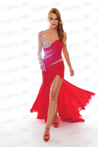 free shipping 2018 new design hot custom size/color long sleeve Sexy One shoulder red Chiffon Beading Formal mermaid Prom dress