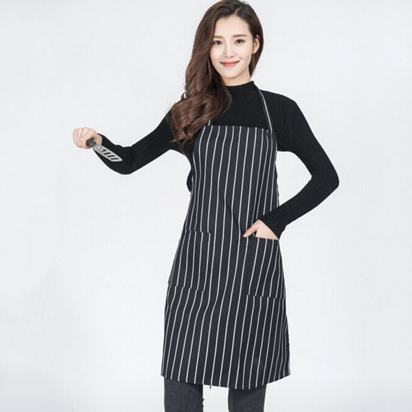 Black And White Adjustable Stripe Bib Apron With 2 Pockets Chef Waiter  Kitchen Cook Kitchen Apron Wholesale Rubber Apron Aprons For Sale From  Tanggo, ...