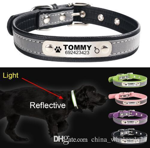 Free Shipping Reflective Leather Personalized Engraved Dog Collar Custom Puppy Cat Pet Collars ID Tag For For Small Medium Dogs