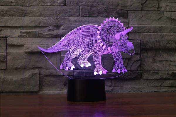 3D Print Dinosaur Night Light Dimmable LED Night Lights Rechargeable Moon Lamp 2 Color Change Touch Switch