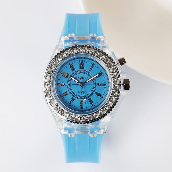 Reloj ligero de la manera, gel de silicona del ocio, reloj masculino y femenino luz de la lámpara del LED