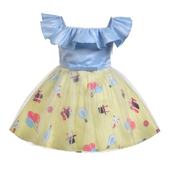 New Christmas Party Girls Dresses Baby Princess Dress Cartoon Balloon Printting Halloween Costume Toddler Girls Clothes 0-6 year
