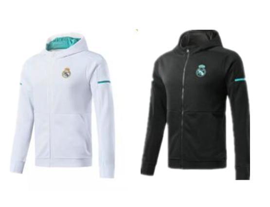 Real Madrid long sleeve Jacket suit have hat Soccer Jersey 17/18 Real Madrid white Training uniform 2017 black football uniform jacket