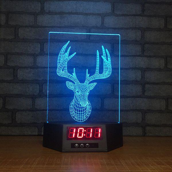 Milu Geyik Saat 3D Illusion Gece Işıkları LED 7 Renk Değişimi Masa Lambası Ev Dekor # R21