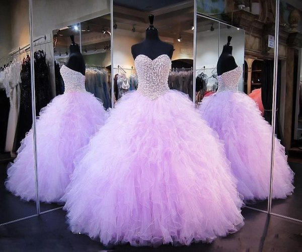 2020 Lilac Quinceanera Ball Gown Dresses Sweetheart Beaded Pearl Tulle Tiered Ruffles Corset Back Plus Size Formal Party Prom Evening Gowns