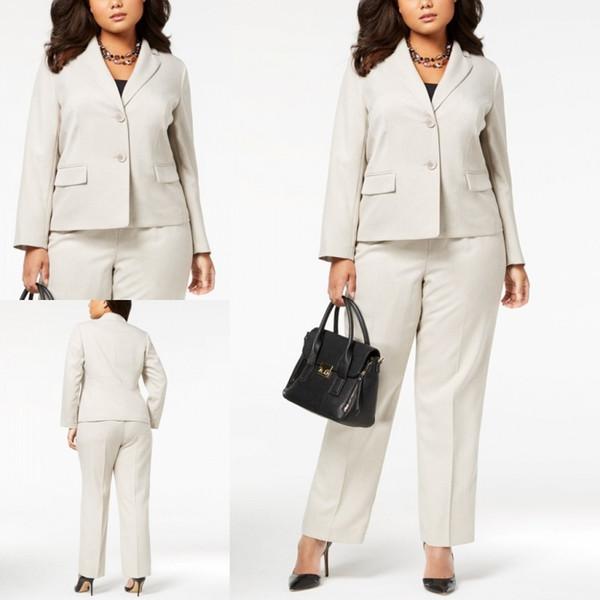 Marfim Plus Size Escritório Senhora Terno Duas Peças Sob Medida Calças Formais Ternos De Casamento Das Senhoras Casuais Saias Jaquetas Saias Vestidos Uniformes