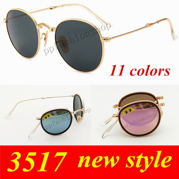 Men Woman Metal folding glass lens sunglasses luxury Brand Sunglasses UV Protection Reflective Lens Fast shipping AAA+