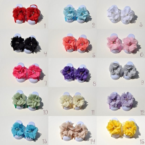 15 Colors Chiffon Flower Pearls Rhinestones Baby Barefoot Sandals for Summer Pre-Walker Infant Toddler Baby Shoes Newborn Baby Shower Gift