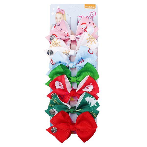 7Pcs/Set Christmas Cute Hair Clips Santa Claus Printed Hair Bows For Girls Kids Xmas Boutique Gifts Headwear Hair Accessories