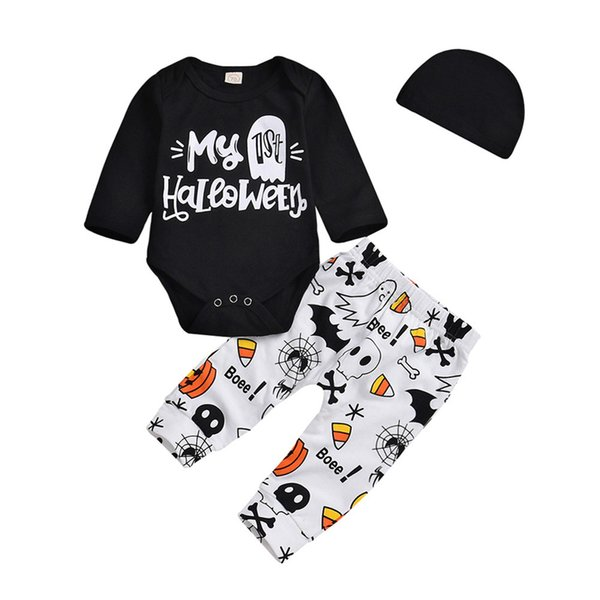 Großhandel Festliche Halloween Trick Kleinkind Infant Baby Mädchen Jungen Brief Strampler Hosen Halloween Kostüm Outfits Set Outwearing Von Rainbowny,
