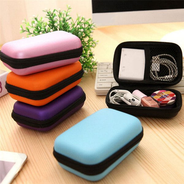 Cosmetic Bags Hard Nylon Carry Bag Compartments Case Cover Headphone Earphone Jewelry Bag 6 Colors