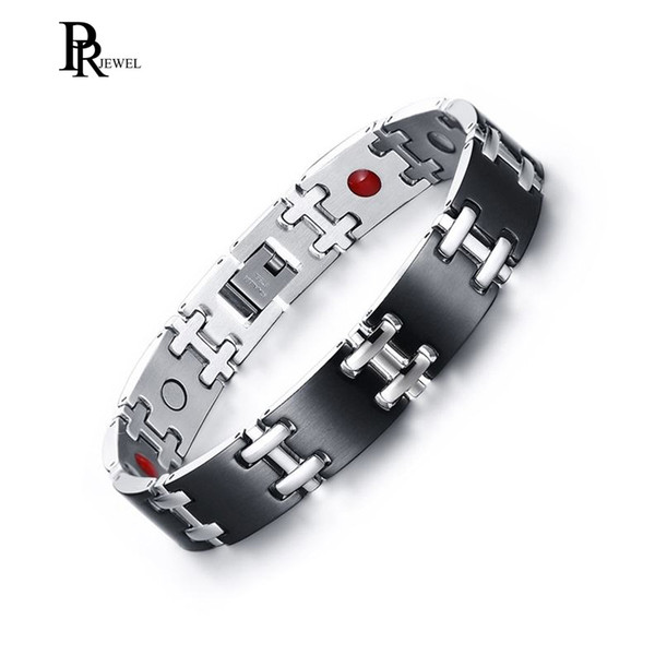 Men's Stainless Steel Silver&Black Two Tone Magnetic Therapy Bracelet Pain Relief for Arthritis with Jewelry Box