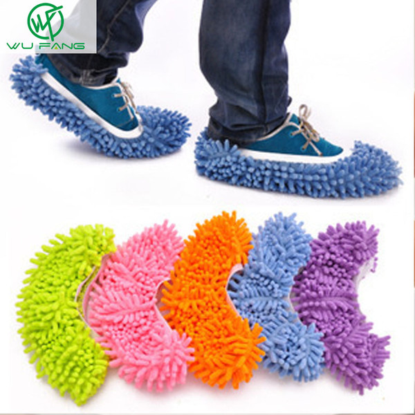 Wholesale-1PCS Convenience Dusting Mop Slipper Cleaner Lazy Floor Dusting CleaningTools Foot Shoe Cover Mop