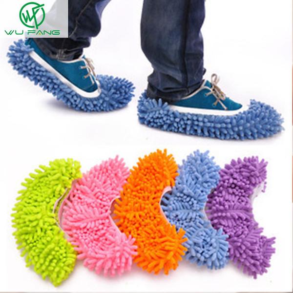 Toptan Satış - Toptan-1PCS Kolaylık Toz Paspas Terlik Temizleyici Tembel Kat Toz Temizleme CleaningTools Ayak Ayakkabı Kapağı Paspas