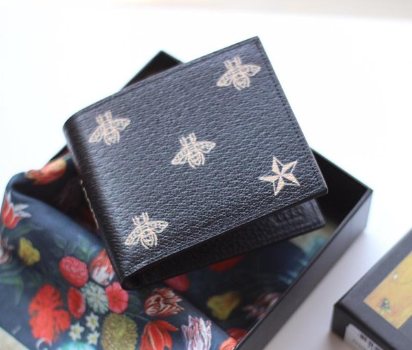 Top quality bee designer Gentlemen bee short wallets genuine leather men and women Business card holders wallet with box 495055