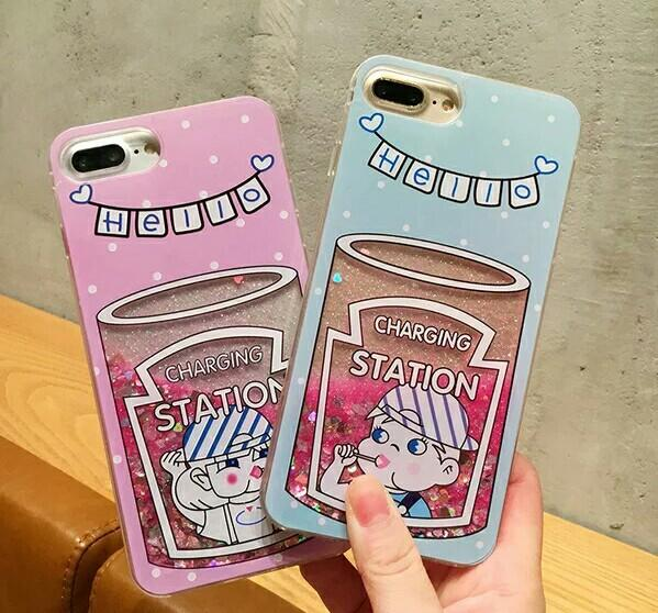Creative Fridge Shell Ice Cream Quicksand Mobile Shell for iphone x 6s plus Silicone Case