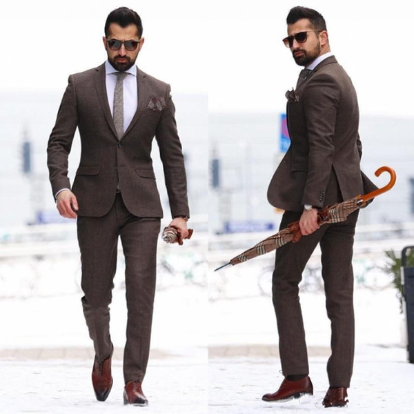 Custom Made Two Pieces Mature Brown Men Suits 2018 New Slim Fit Groom Wear Tuxedos Cheap Mens Wedding Suit (Jacket+Pants)