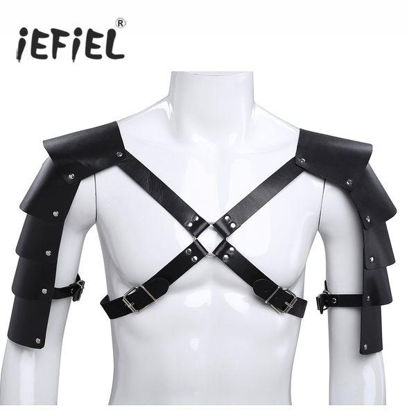 gay men bondage iEFiEL Mens Faux Leather Wetlook Body Chest Harness Men Costumes Bondage Fancy Night Clubwear with Shoulder Armors Buckles