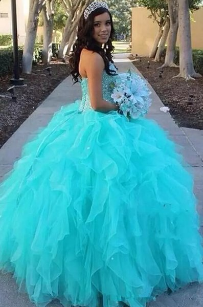 2018 Ball Gown New Arrival Princess Style Sweetheart Piping Blue Party Quinceanera Dresses With Beads Pageant Dress Prom Gowns Q34