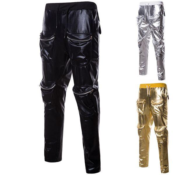 Mens Hip Hop Sequin Casual Long Pants   2018 Autumn Brand New Male Multi-pocket Pencil Pants Mens Sweatpants Trousers