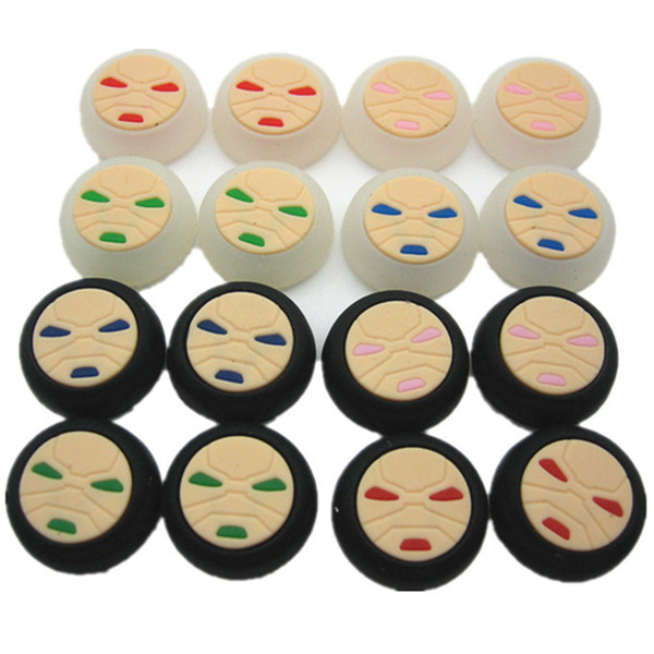 Free shipping Face Pattern Silicon Thumbstick Thumb Grip Stick Joystick Cap Cover Case for PS4 Xbox one PS3 Xbox 360 Controller