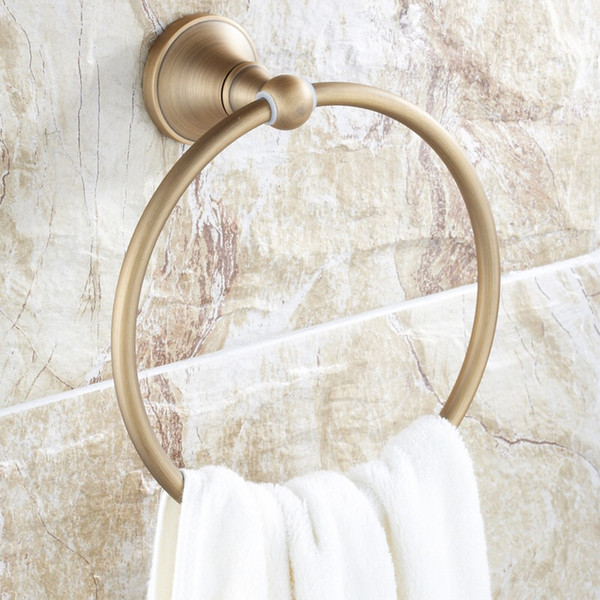 top popular full copper Bathroom towel holder solid brass Wall-Mounted Round antique brass Towel Ring Towel Rack European style 2021
