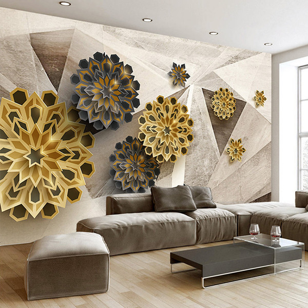 Custom Photo Wallpaper 3D Stereoscopic Retro Geometric Pattern Abstract Flowers Modern Art Wall Painting Mural Home Decoration