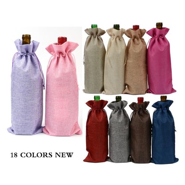 18 Farben Jute Weinflasche Taschen Kordelbeutel 15cmx35cm (6