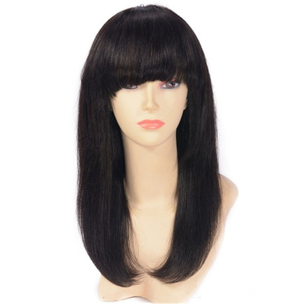 Peruvian Virgin Hair Full Lace Wigs with Bangs Pre Plucked Hairline Bleached Knots Straight Lace Front Wigs Ping