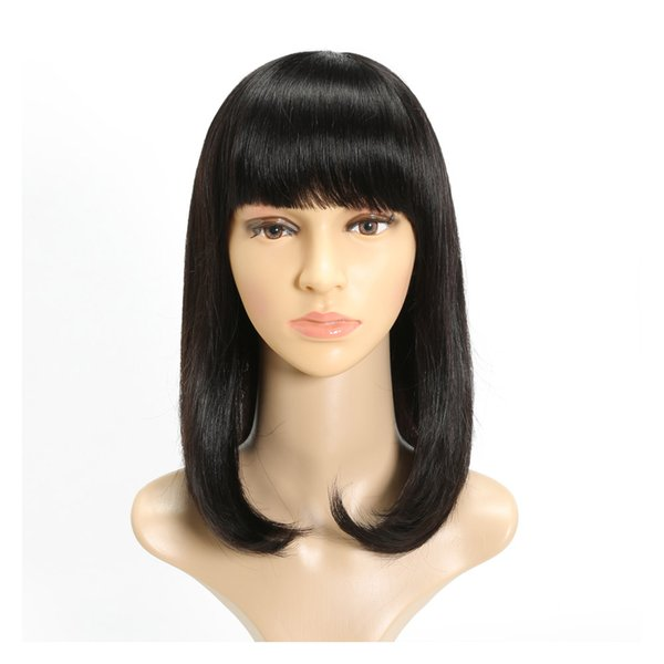 Nature bangs tangle medium free shipping unprocessed virgin remy human hair natural color natural straight full lace cap wig for girl