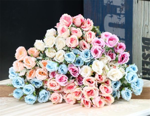 Fake Curling Rose Bunch (5 stems/piece) Simulation Roses for Wedding Home Showcase Decorative Artificial Flowers