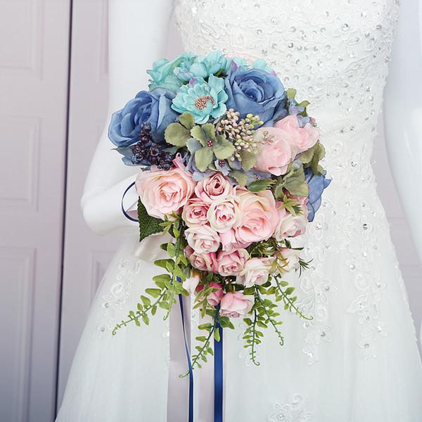Bouquet Rose Sposa.Acquista Bouquet Da Sposa Elegante Matrimonio Handmade Bridesmaid