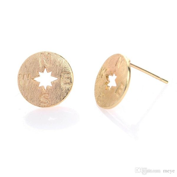 Wholesale Gold Silver and Rose gold-color Simple Compass Stud Earrings for Women Studs Earring Girls Gifts New jl-172
