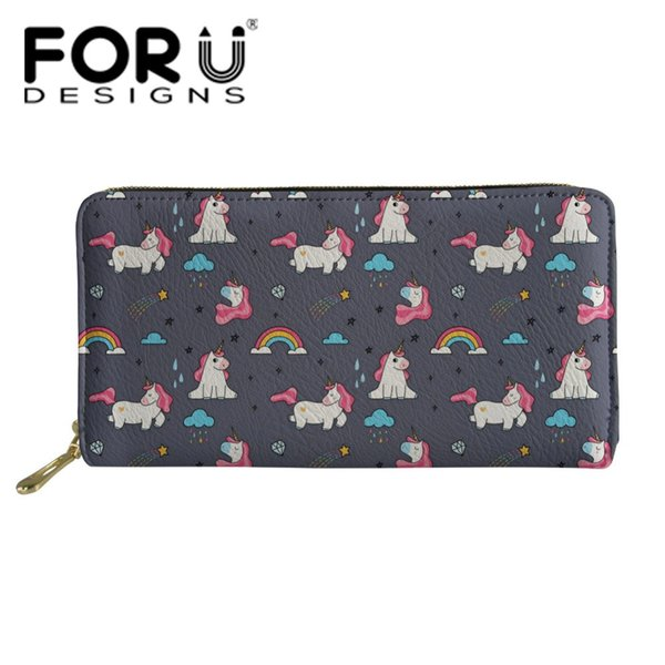 FORUDESIGNS Women Long Wallets and Purse Card Holders Clutch Pu Leather Purse Ladies Cute Unicorn Pattern Female Coin Wallets