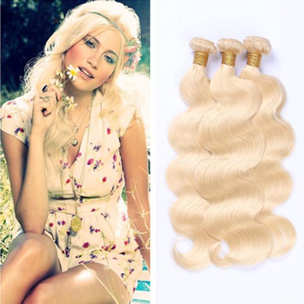 Peruvian Virgin Bundles de cheveux humains # 613 Bundles de cheveux blonds Double trame vague de corps tisse 3 pcs par lot Top Grade de huihao_hairs