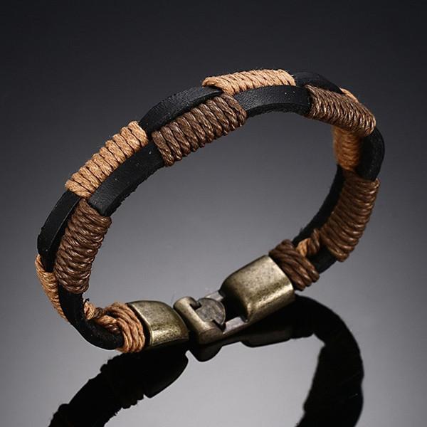Mens Vintage Lederarmbänder in Khaki Brown Double und Rope Twine Bangle für Männerschmuck mit Alloy Clasps Jewellery