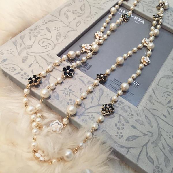 Gioielli coreano inverno fiore maglione catena lunga collana di perle gioielli ciondolo doppia femmina