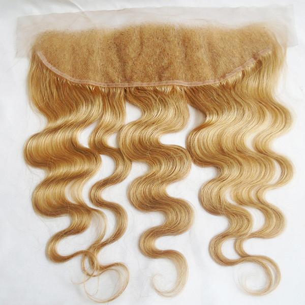 27 Honey Blonde Lace Frontal Closure Body Wave Brazilian Peruvian Indian Malaysian Virgin Human Hair Natural Hairline 130% Density