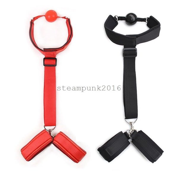 New Kinky Nylon Neck Hand Cuffs Mouth Ball Gag Restraint Straps Sexy Black/Red #R97