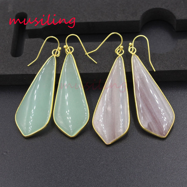 Long Drop Earrings Crystal Glass Earing 18K Gold Plated Natural Stone Rhombus Ear Accessories Fashion Charms Jewelry For Women Gifts