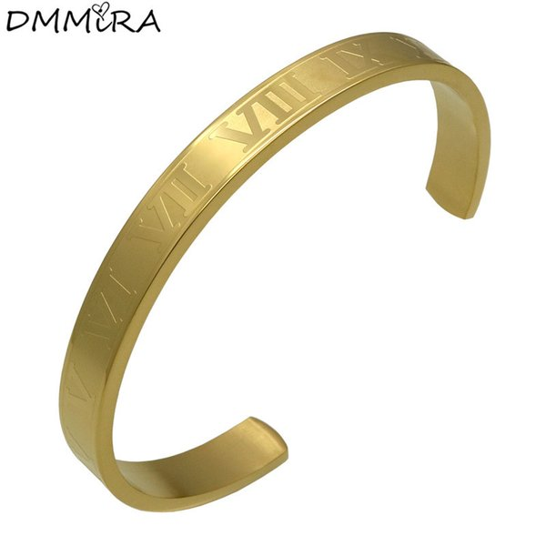 Fashion Women Roman Numerals Stainless Steel Silver Rose Gold Open Clasp Roman Numbers Cuff Bangle Bracelet Pulseras Jewelry