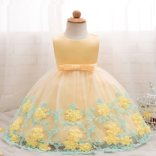 Baby Girls Christening Gowns Kids Summer Floral Dress Pink Party Gowns Toddler Girl 1st Birthday Clothes Bebes Flower Frocks 24M