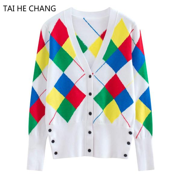 Pulls de piste femmes de haute qualité nouveau créateur de mode automne et hiver cardigans tricotés style preppy pull à col en V