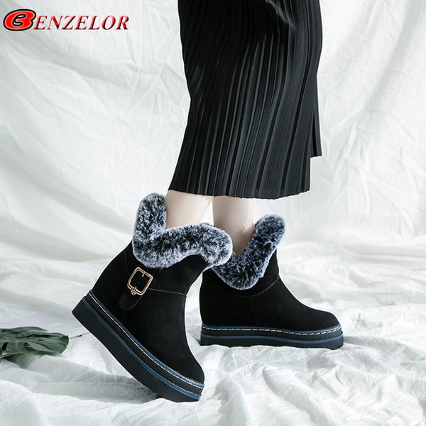 2019 BENZELOR 2018 Winter Faux Fur snow boots women shoes woman mid-calf Wedge Platform Warm Plush Fashion Femme Ladies Boot Booties