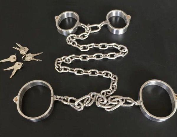Stainless Steel Collar Wrist Ankle cuff Chain New Lock Restraint Set #E07